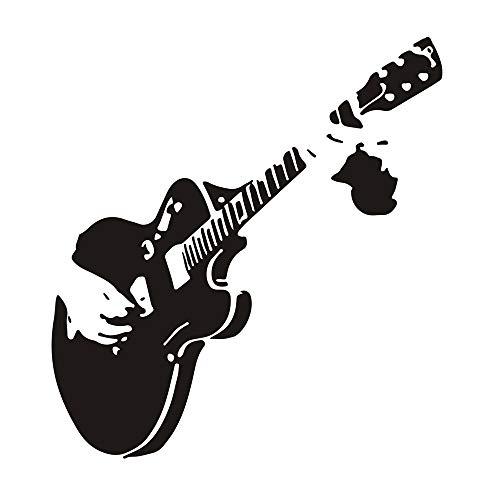 Gitarre Wandtattoo Musik Deko Spruch, Creatiees Abnehmbare Sofa TV Hintergrund Wandaufkleber Kunst Wandtattoo zum Kinder Wohnzimmer Schlafzimmer - Einzigartig & Tolle