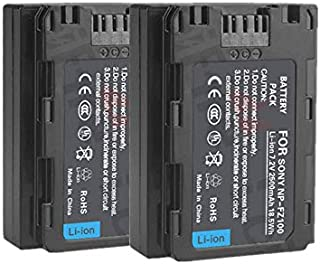 2 pcs NP-FZ100 2500mAh 7.2V Z Series Rechargeable Battery Pack for Sony NPFZ100 BC-QZ1 A7RM3 A7R III ILCE-A9 ILCE-9 ILCE9 Alpha A9 Digital Camera
