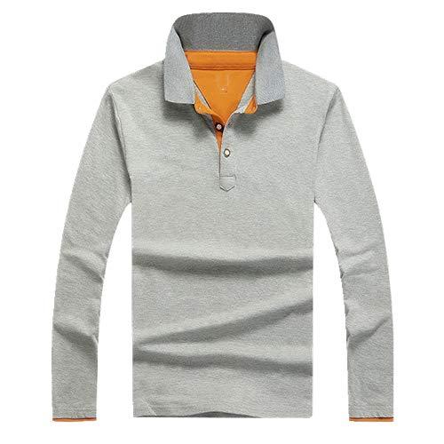 N\P Polo de manga larga para hombre, estilo informal, de algodón. gris XXL