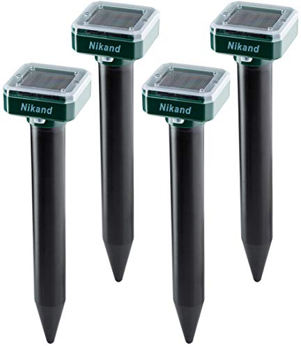 NIKAND Solar Mole Repellent Ultrasonic 4 Pack Outdoor Powered Sonic
