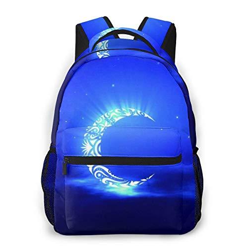 Lawenp Mochila Unisex de Moda Mochila de Galaxia con Forma de Media Luna Azul Mochila Ligera para portátil para Viajes Escolares Acampar al Aire Libre