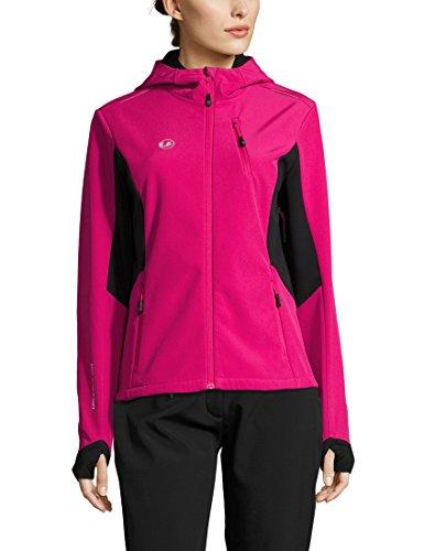 Ultrasport Advanced Damen Softshelljacke Bibi, moderne zweifarbige Funktionsjacke, Outdoorjacke, Laufjacke, Fitnessjacke, Pink/Schwarz, L