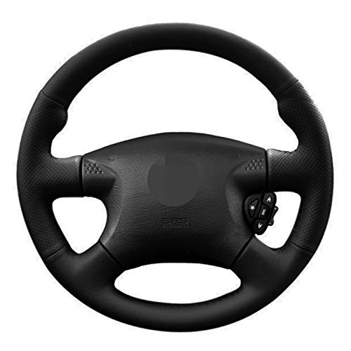 QOMFNG Fundas para Volante de Coche, Cubiertas para Volante de Cuero Artificial Negro Cosidas a Mano, para Nissan Almera (N16) 2000-2003 X-Trail (T30) 2001-2003 Terrano 2 2001-2002