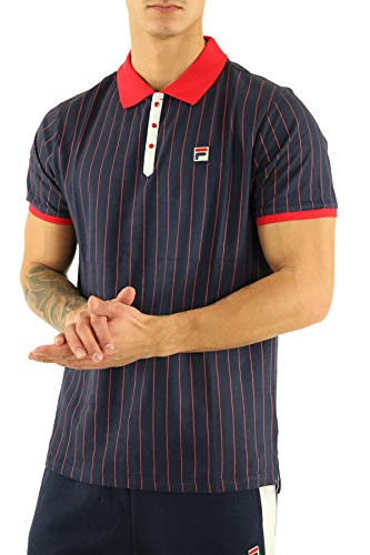 Fila Vintage BB1 Classic Stripe Polo Shirt | Peacoat/Chinese Red Small