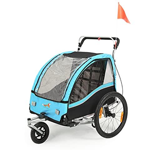 Sepnine Remorque Velo Enfants Convertible Jogger Remorque À Vélo 2 en 1 pour Remorque Velo Enfants 2 Places Bleu