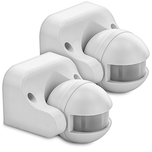 deleyCON 2X Infrarot Bewegungsmelder Aufputz Wandmontage Innen Außen Spritzwassergeschützt Neigbar 180° Arbeitsfeld 12m Reichweite Weiß