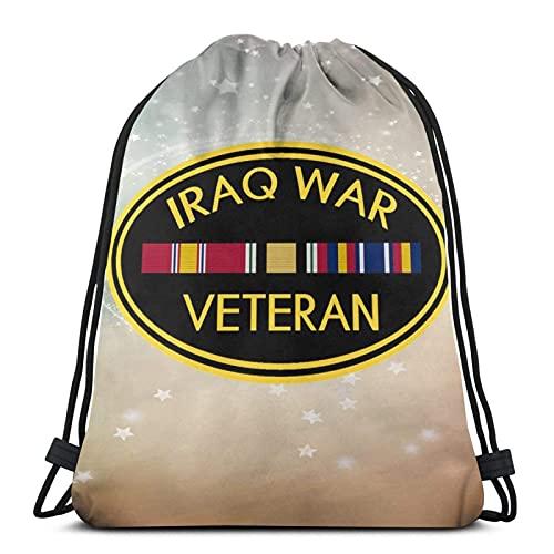jiadourun Bolsas de cuerdas Mochila , veterano de la guerra de Irak, bolsa de cuerda Mochila Cinch Bolsa de playa de nailon resistente al agua para gimnasio, compras, deporte, yoga, calcetín navid