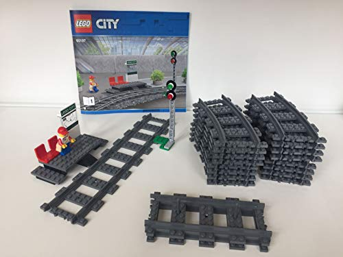 EB Lego City Eisenbahn Bahnsteig und Signal, inkl.16 Gebogene und 4 gerade schienen (aus 60197)
