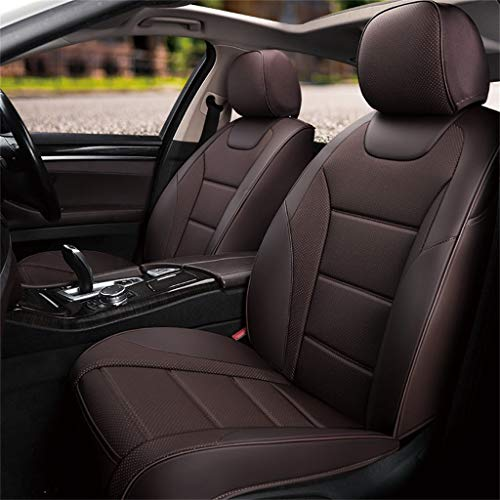 LLYQCZD Auto Auto Car Office Chair zitkussen voor auto ademend met lederen band vier Seasons Five Seats Universal Bruin