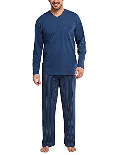 Schiesser Herren Original Classics Anzug Lang Zweiteiliger Schlafanzug, Blau (Jeansblau 816), Medium (Herstellergröße: Langgröße 098)