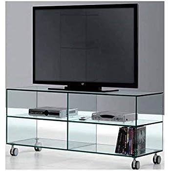 Mesa de TV de Cristal con Tres estantes de Cristal Transparente de ...