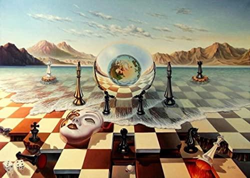 YYAYA.DS Cuadro de Lienzo Tablero de ajedrez con Imagen grotesca de Salvador Dalí en el mar Pintura artística decoración de Pared de surrealismo Abstracto 60x90cm