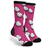 Lucky Dice Bunco Casino Game Night Men Women Casual Crazy Funny Athletic Fancy Novelty Graphic Crew Tube Socks Moisture Wicking Gift