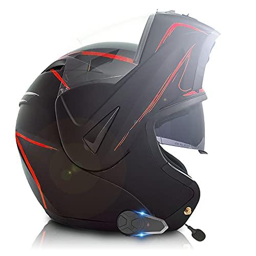 Casco Cascos Bluetooth para motocicleta, Cascos integrales modulares abatibles con doble visera,ECE/DOT Hombres Mujeres Casco frontal abatible Función de intercomunicador FM A,M(57~58CM)