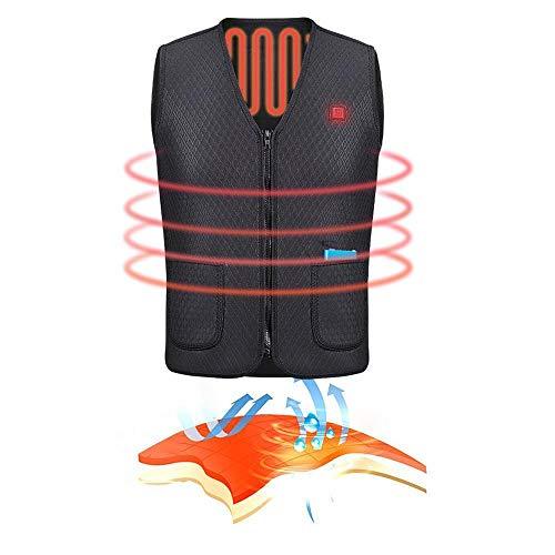 KKmoon Gilet Elettrico Riscaldato, Abbigliamento da Uomo Riscaldamento Cappotto Giacca, per Motocicletta Invernale, Sci, Escursionismo, L