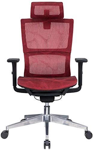 XUANFEI Silla de Oficina Silla de Oficina Tecnología Deportes Ajustable con Respaldo Medio Diseño de Gama Alta de la Cintura Soporte de la Cabeza deslizable (Color : Red)