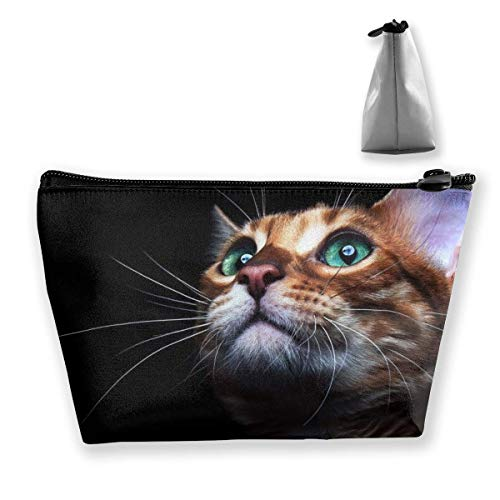 Green Eyed Cat Makeup Bag Large Trapezoidal Storage Travel Bag Wash Cosmetic Pouch Pencil Holder Zipper Waterproof