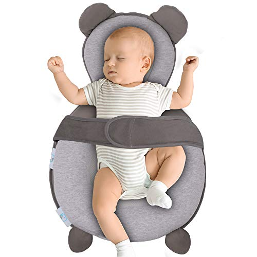 BIBLY BABY Portable Baby Bed | Prevent Flat Head Syndrome | Thick Newborn Lounger Bed for Comfortable Sleep | Baby Pillows for Sleeping at Home or On The Go | Easy Cleaning Baby Crib Mattress