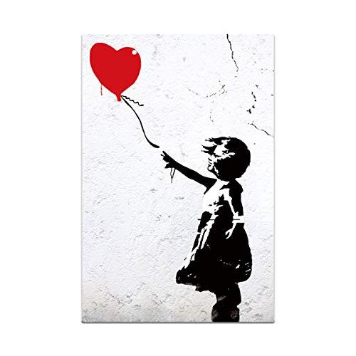 123 Life Póster de Banksy con globos de estilo retro en blanco y negro para pared, decoración de sala de estar, 40 x 60 cm sin marco