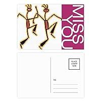 面白いエジプトダンスパターン図 ポストカードセットサンクスカード郵送側20個ミス