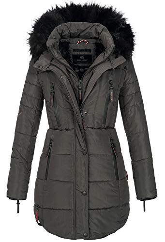 Marikoo warme Damen Winter Jacke Winterjacke Parka Stepp Mantel lang B401 [B401-Moonshine-Anthraz-Gr.XL]