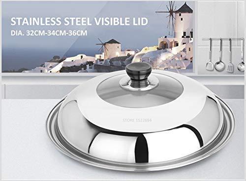 Utensilios de cocina de acero inoxidable Tapa de sartén para wok de cocina superior Tapa de acero inoxidable para sartén universal Tapa reemplazada visible para freír Sartén Wok Cubierta de cúpula pa