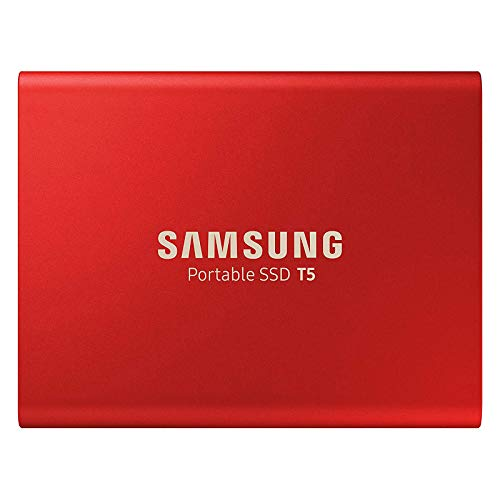 500GB Samsung Portable SSD T5, External, Red, USB 3.1 Gen2 Type-C (10Gbps), 540MB/s Transfer, 2x Cables, Retail - MU-PA500R/EU