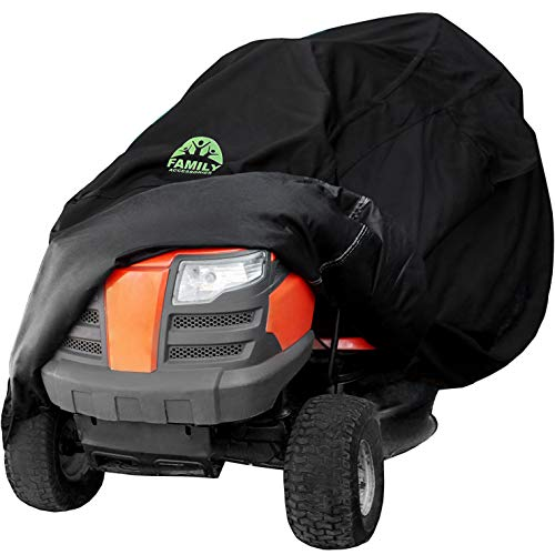 Family Accessories Waterproof Riding Lawn Mower Cover, Heavy Duty Water Resistant Garden Tractor Cover, Weatherproof Outdoor Storage for Ride On Lawnmower Engine, Deck Up to 54""
