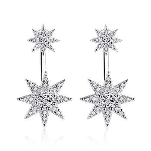 Zolkamery Star Drop Earrings for Women, 925 Sterling Silver Dangling Dangly Stud Earrings with Cubic Zirconia, Hypoallergenic Dual Use Studs Earring, Engagement Christmas Thanksgiving Jewellery Gift