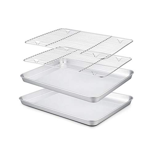 TeamFar Toaster Oven Pan with Rack Set, 10.5'' x 8'' x 1'' Small Baking Pans Tray Stainless Steel with Cooling Rack Set of 4, Non-Toxic & Heavy Duty, Mirror Finish & Dishwasher Safe
