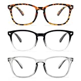 Gaoye 3-Pack Reading Glasses Blue Light Blocking Computer Readers Anti UV Ray Fashion Square Nerd Eyeglasses Frames...