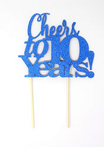 All About Details Cheers to 10 Years Cake Topper, 1PC, 10th anniversary, retirement (Blue), 6 x 9