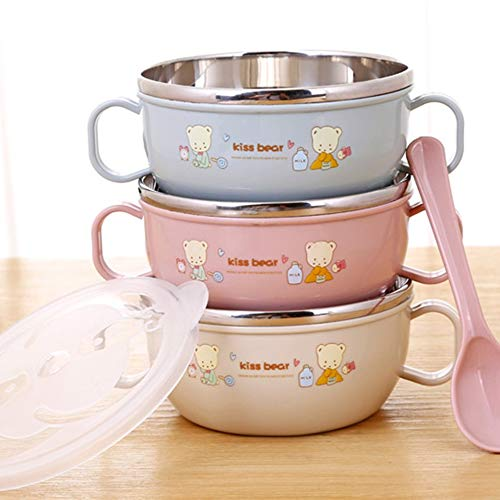 Mouchao Smart Stainless Steel Cartoon Feeding Bowl with Handles And Spoon for Baby