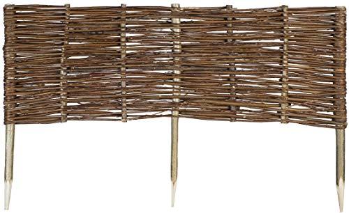 Mcsammler Weide Beeteinfassung in 16 Größen Weidenzaun Rasenkante Beetbegrenzung Steckzaun imprägniert mit Buchepflöcken für leichtes Einsetzen Palisade Länge: 120 cm Höhe: 30 cm