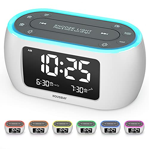 Housbay Glow Small Alarm Clock Radio for Bedrooms with 7 Color Night Light, Dual Alarm, Dimmer, USB Charger, Battery Backup, Nap Timer, FM Radio with Auto-Off Timer for Bedside(White)