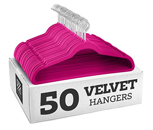 ZOBER Premium Quality Space Saving Velvet Hangers Strong and Durable Hold Up to 10 Lbs - 360 Degree Chrome Swivel Hook - Ultra Thin Non Slip Suit Hangers 50 Pack Pink