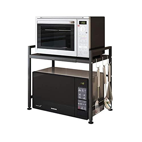 Rejilla para Horno de microondas, Estante mi Extensible y Ajustable en Altura, Organizador de Cocina Decon 3 Ganchos Rejilla para Multifunctional microondas Negra par cochina