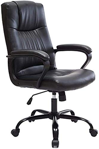 Home Equipment Office Chair Computer Chair Fashionable Home Office Chair Leisure Lifting Swivel Chair Ergonomic Leather Executive Swivel Adjustable Office Desk Chair with Casters Colour Name:Black