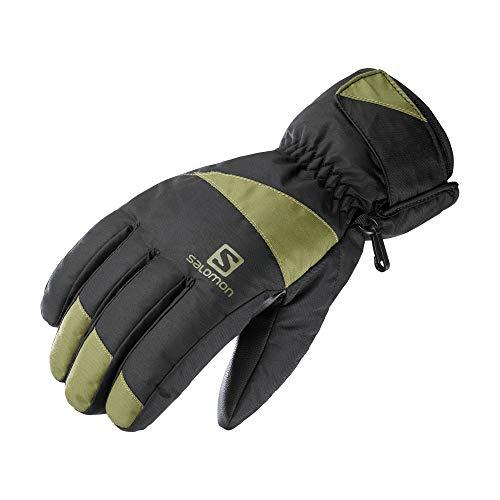 Salomon Guantes de esquí y snowboard, Hombre, FORCE M, Negro/Verde (Martini Olive), Talla L, LC1428100