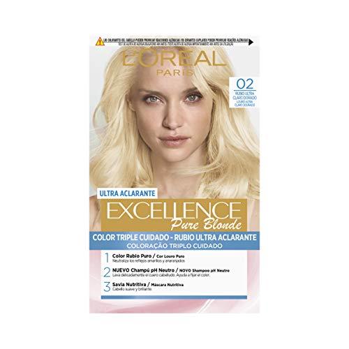 L'Oréal Paris Excellence Coloración Crème Triple Protección, Tono 02 Rubio Ultra Claro Dorado -50 ml