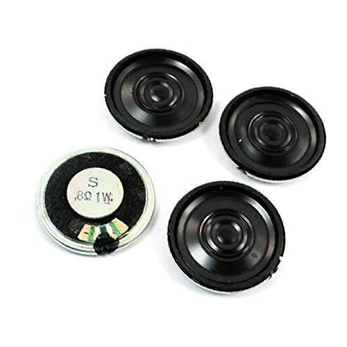 X-DREE 4 piezas 1W 8 ohmios 28 mm cáscara metálica redonda magnético interno juguete eléctrico DVD/EVD Amplificador de altavoz de audio Loundspeaker Reemplazo (4Pcs 1W 8Ohm 28mm Magnétique Électriqu