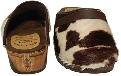 Original Schwedenclogs Damenclogs Herrenclogs Gartenclogs Freizeitclogs Design Fellclogs Weiß Braun(White/Brown) mit eingeschnitztem Stier Clogs Gr.34-46