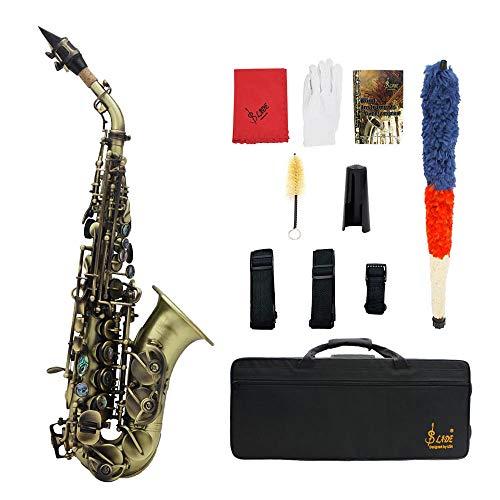 Kalaok Vintage Style Bb Sopran Saxophon Sax Messing Material Holzblasinstrument mit Tragetasche Handschuhe Putztuch Pinsel Sax Strap Mundstück Pinsel