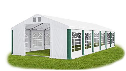 Partyzelt 6x12m wasserdicht weiß-grün mit Bodenrahmen 560g/m² PVC Plane Solide Festzelt Gartenzelt Summer Floor SD