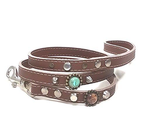 Superpipapo Leder Hundeleine in Style, Handmade Braun Design, 1m und 8 cm, (108 cm), Exclusiv Edel Bohemian Stil mit Schönen Türkis Steinen