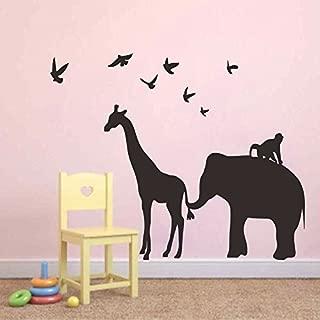 Wall Sticker Vinyl Safari Animal Wall Decal - Elephant Giraffe Birds Monkey Jungle Silhouette for Kids Room Baby Nursery(57'' x71.5'',Black).