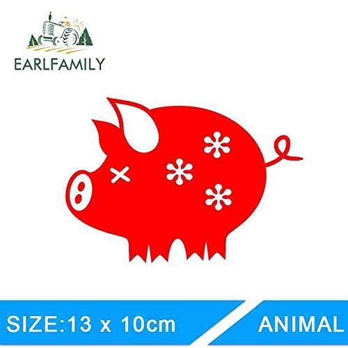 BJDKF 13cm x 10cm Grappig Leuke Bloemenvarken Rich Piggy Bank Auto Sticker voor Tractor Venster Bumper Deur Laptop JDM Vinyl Decal Groen