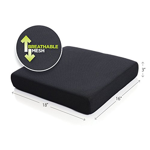 Milliard Memory Foam Seat Cushion Chair Pad 18 x 16 x 3in. with Washable Cover, for Relief and Comfort