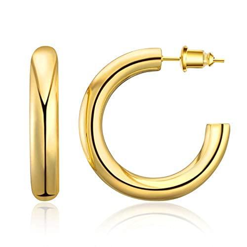 Pendientes de aro gruesos para mujer, chapados en oro de 14 quilates, ligeros, huecos, abiertos, de oro, para mujer y para mujer
