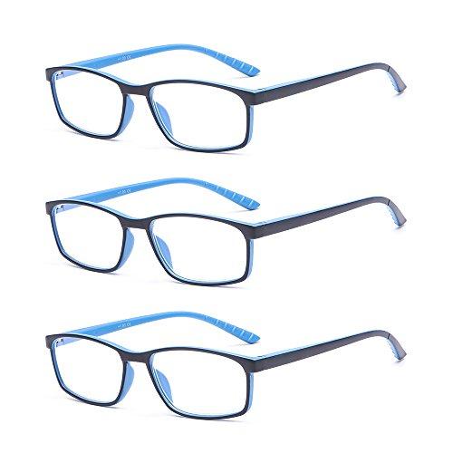 Suertree Blaulicht Brille 3pcs Blaulichtfilter Lesebrille Computerbrille Sehhilfe Augenoptik Lesehilfe für Damen Herren 1.0X BM141